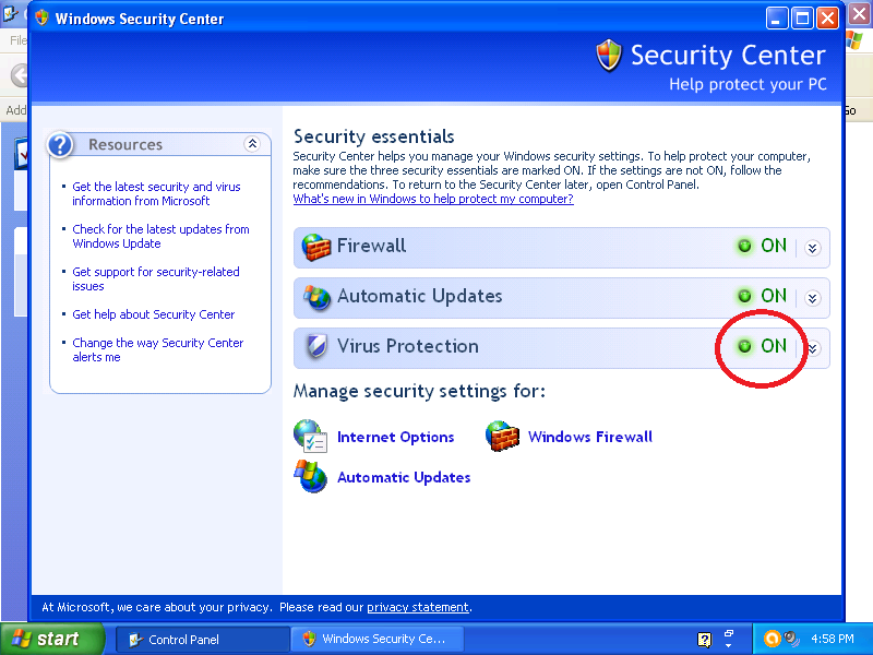 Verify that Virus Protection shows as ON.