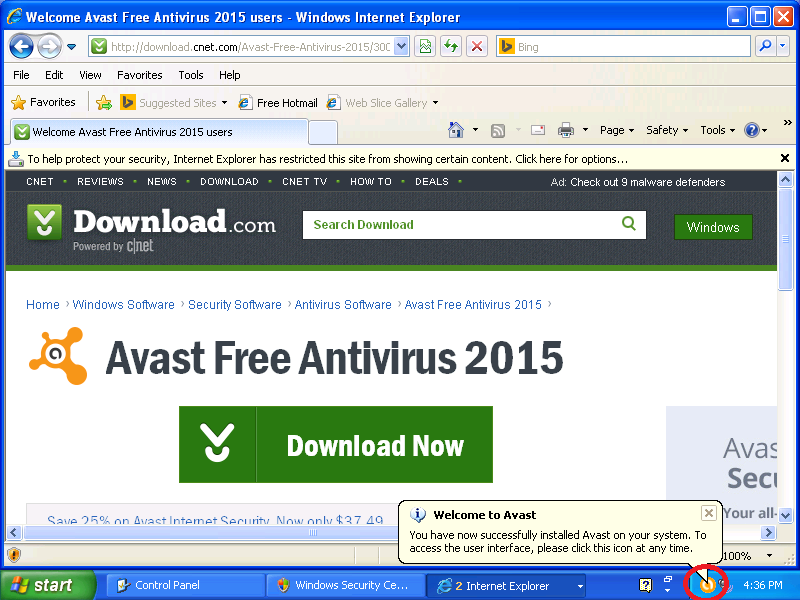 Notice the new Avast icon in the lower right.