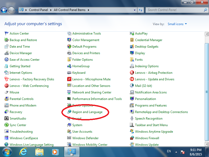 Click: Region and Language (if Control Panel is set to Icon view)