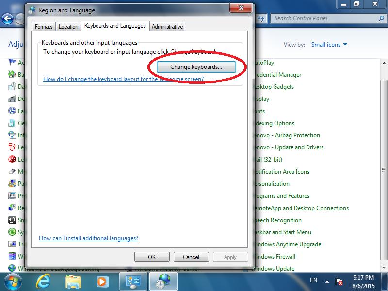 Click: [Change keyboards...]
