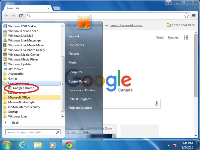 Right-click: Google Chrome