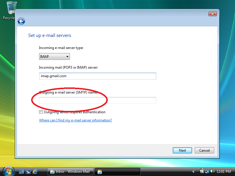 how to find smtp server for gmail
