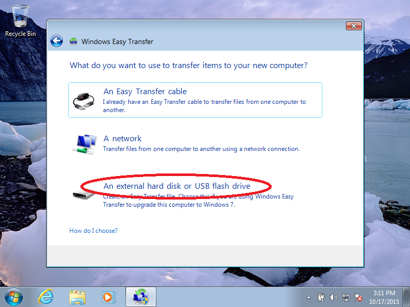 Click: An external hard drive or USB flash drive