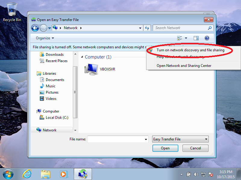 Click: Turn on the network discovery and file sharing