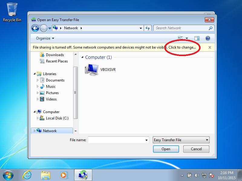 Click: Click to change (if File Sharing is turned off)