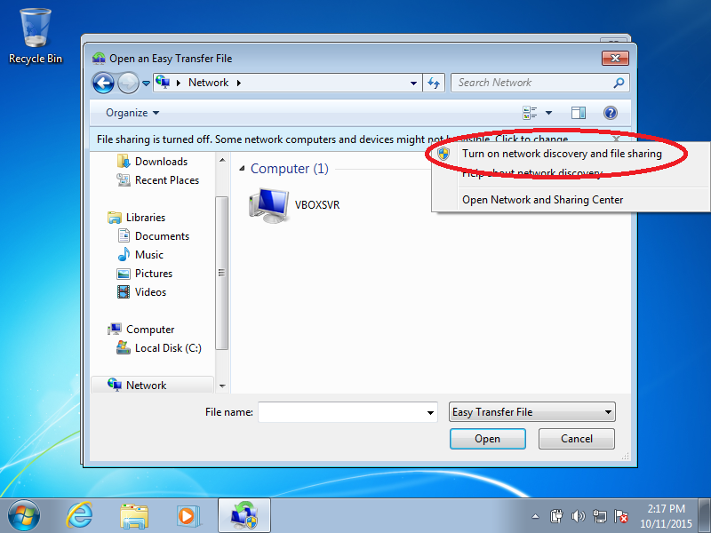 Click: Turn on network discovery and file sharing (if File Sharing is turned off)