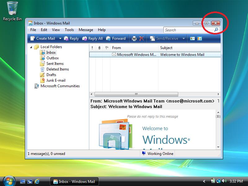 Close Windows Mail.
