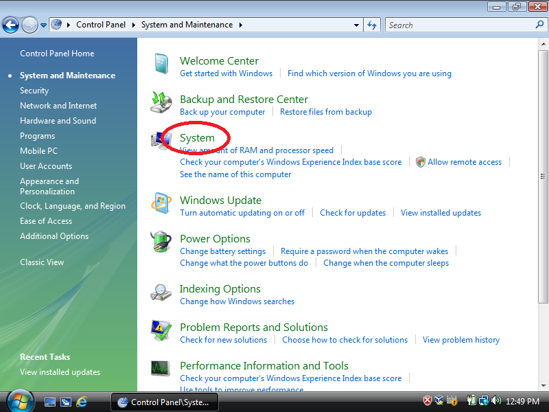 Click: System (if Control Panel is set to Control Panel Home)